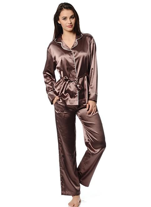 Magic Form Saten Kumaşlı Erkek Modelli Takım Pijama Antrasit